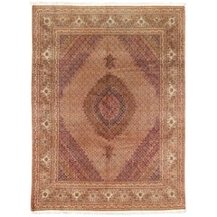 Persian Tabriz Vintage Rug with Oval Medallion and Swirling Floral Design