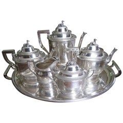 Seven-Piece Rogers & Wendt Coin Silver Tea Set Plus Tray Greyhound Dog Finials