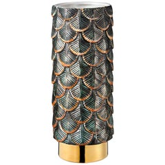 Contemporary Vase Hand Decorated with Dark Green and Silver 24k Gold Enamels