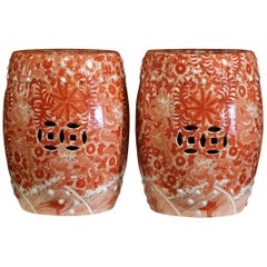 Pair of Mid-20th Century Chinese Porcelain Garden Stools with Dragon Motif