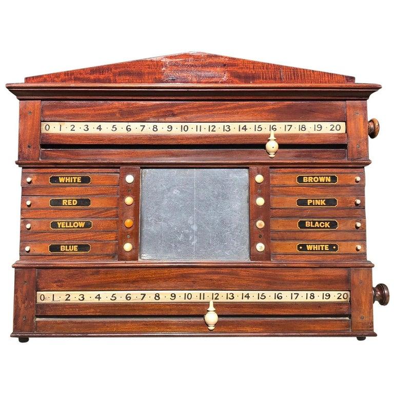 Fantastic British Mahogany Snooker or Billiard Pool Table Scoring Cabinet