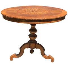 Gorgeous Round French Walnut Marquetry Table