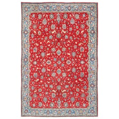 Fine Persian Isfahan Rug with All-Over Floral Design in Red Background