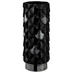 Contemporary Vase Hand Decorated with Black Gloss and Iridescent Plinth Enamels