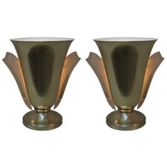 Pair of Bronze Torchiere Table Lamps by Petitot