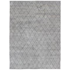 Modern Moroccan Rug with All-Over Diamond Design in Charcoal and Gray