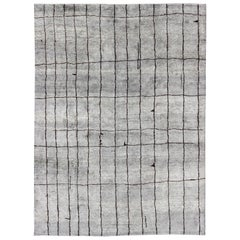 Modern Moroccan Rug with All-Over Checkerboard Design in Charcoal and Gray