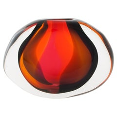 Sunset Low Flat Oval, Handblown Glass Vase by Siemon & Salazar