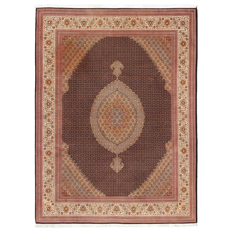 Fine Persian Tabriz Mahi Rug With Oval Medallion And Swirling Fl Design For