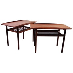 1960s Grete Jalk Teak Side Tables for Poul Jeppesen