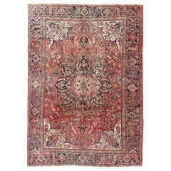 Large Semi Antique Persian Heriz Rug with Intricate Motifs