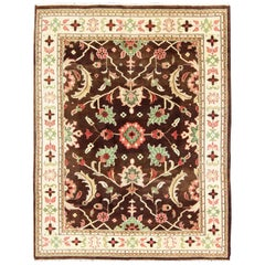 Brown, Coral, and Mint Indian Sultanabad Design Rug with Vining Flower Design