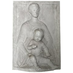 Lovely Antique Madonna and Child Bas Relief from Belgian Castle