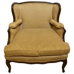 Oversized Wingback Marquis Chair Upholstered in Burlap Carved Wood Details