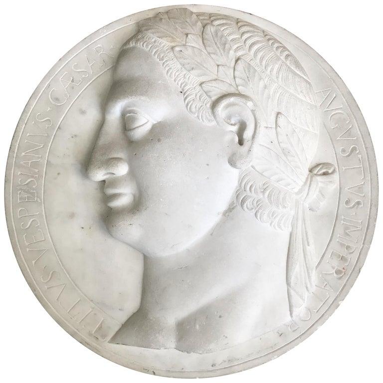 Large Marble Profile Plaque of Caesar Augustus