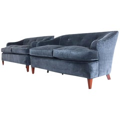 Pair of 1930s Tufted Art Deco Settees Reupholstered in Brushed Velvet