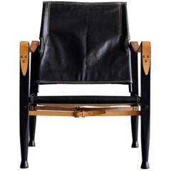 Kaare Klint Black Leather Safari Chair, 1960s