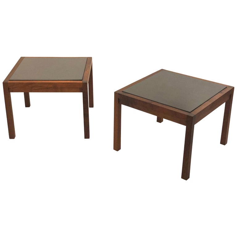 American Mid Century Modern Solid Walnut Frame And Slate End Tables For
