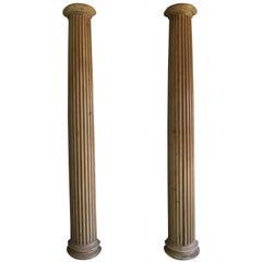 19th Century Italian Carved Pinewood Pilasters, Pair