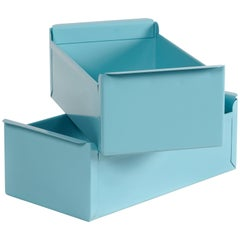 1950s Card File Drawers, Refinished in Tiffany Blue
