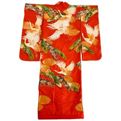 Vintage Red Brocade with Flying Cranes Japanese Ceremonial Kimono