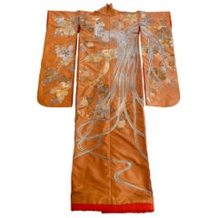 Vintage Brocade Japanese Ceremonial Kimono in Orange, Gold and Silver