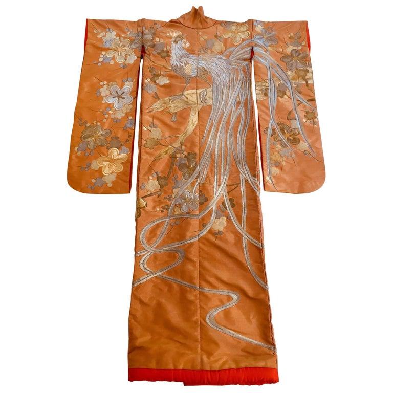 Vintage Brocade Japanese Ceremonial Kimono in Orange, Gold and Silver