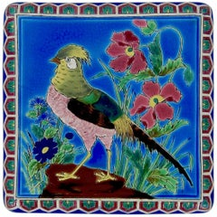 Antique French Emaux de Longwy Stand or Trivet with Cloisonné Style Bird Decor