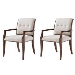 Pair of Midcentury Scroll Back Armchair