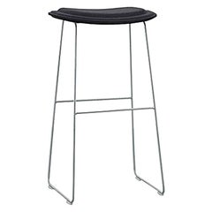 Hi Pad Stool in Black Leather and Stainless by Jasper Morrison for Cappellini