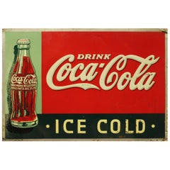 "1937 Vintage Coca Cola ""Ice Cold"" Advertising Tin Sign"