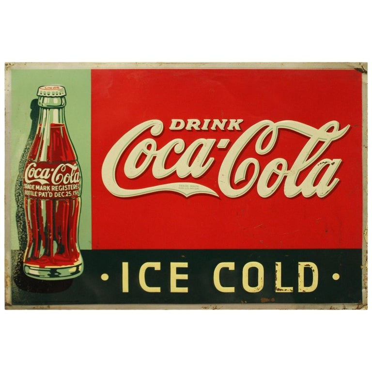 """1937 Vintage Coca Cola """"Ice Cold"""" Advertising Tin Sign"""