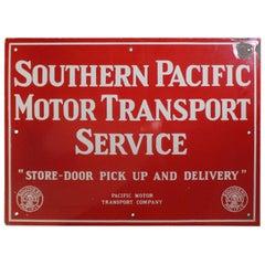 Vintage 1940s Southern Pacific Lines Motor Transport Service Porcelain Sign