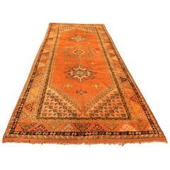 Moroccan Vintage Orange Color Tribal African Pile Rug