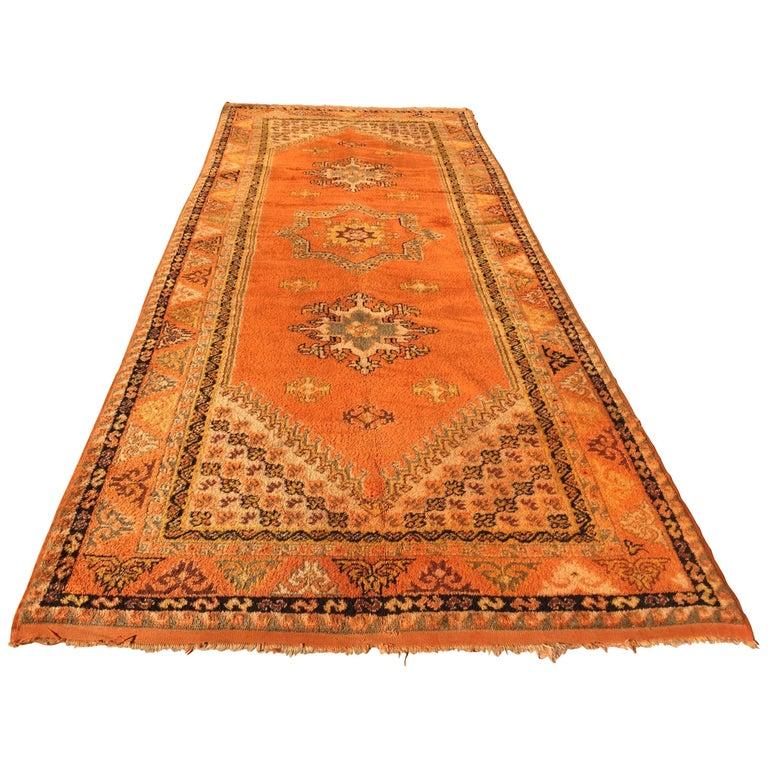Maroc Tribal Rug: Vintage Moroccan Tribal Green And Orange Rug For Sale At