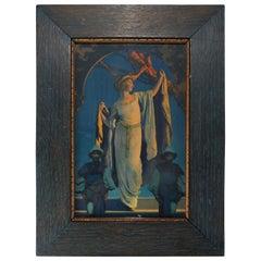 "Antique Maxfield Parrish ""Spirit of the Night"" Edison Mazda Calendar Top"