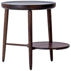Baré Side Table, Walnut Wood Base with Carved Soapstone Top and Leather Tray