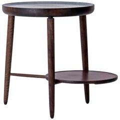 Baré Beistelltisch aus Nussbaum mit Tischplatte aus geschnitztem Speckstein