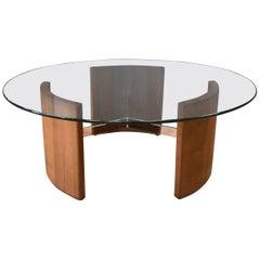 Vladimir Kagan Walnut and Polished Metal Radius Coffee Table