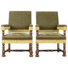 Pair of Antique Armchairs, English Oak Edwardian Jacobean Revival Chairs