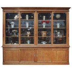 Large Oak Sliding Doors Commerce Bookcase Cabinet, 1900