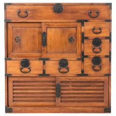 Japanese Osaka Merchant's Shop Storage Chest, Wooden, Meiji Period 19th Century
