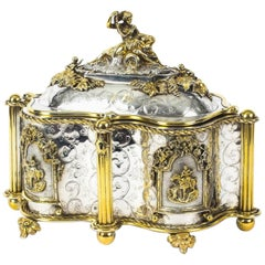 Antique Large French Gold and Silver Plated Oval Casket 19th Century