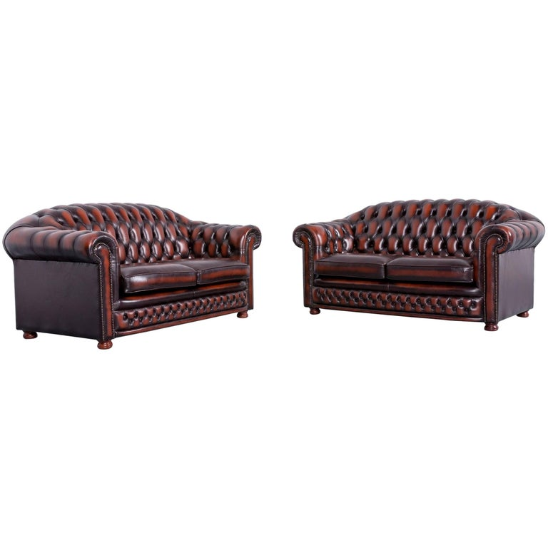 Chesterfield Leather Sofa Set Orange Brown of Two Two-Seat