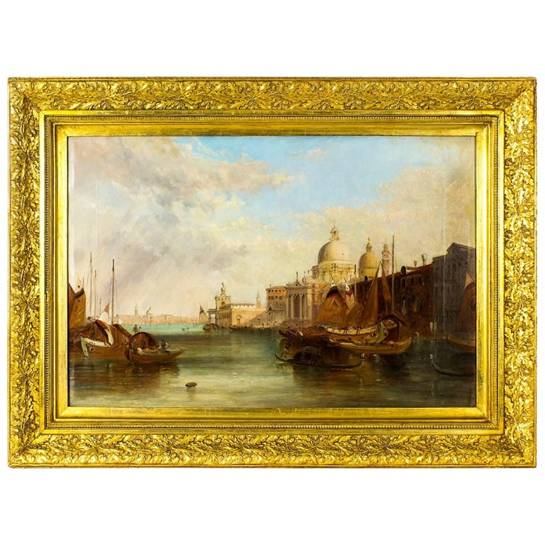 Antique Oil Painting Grand Canal Venice Alfred Pollentine, 19th Century