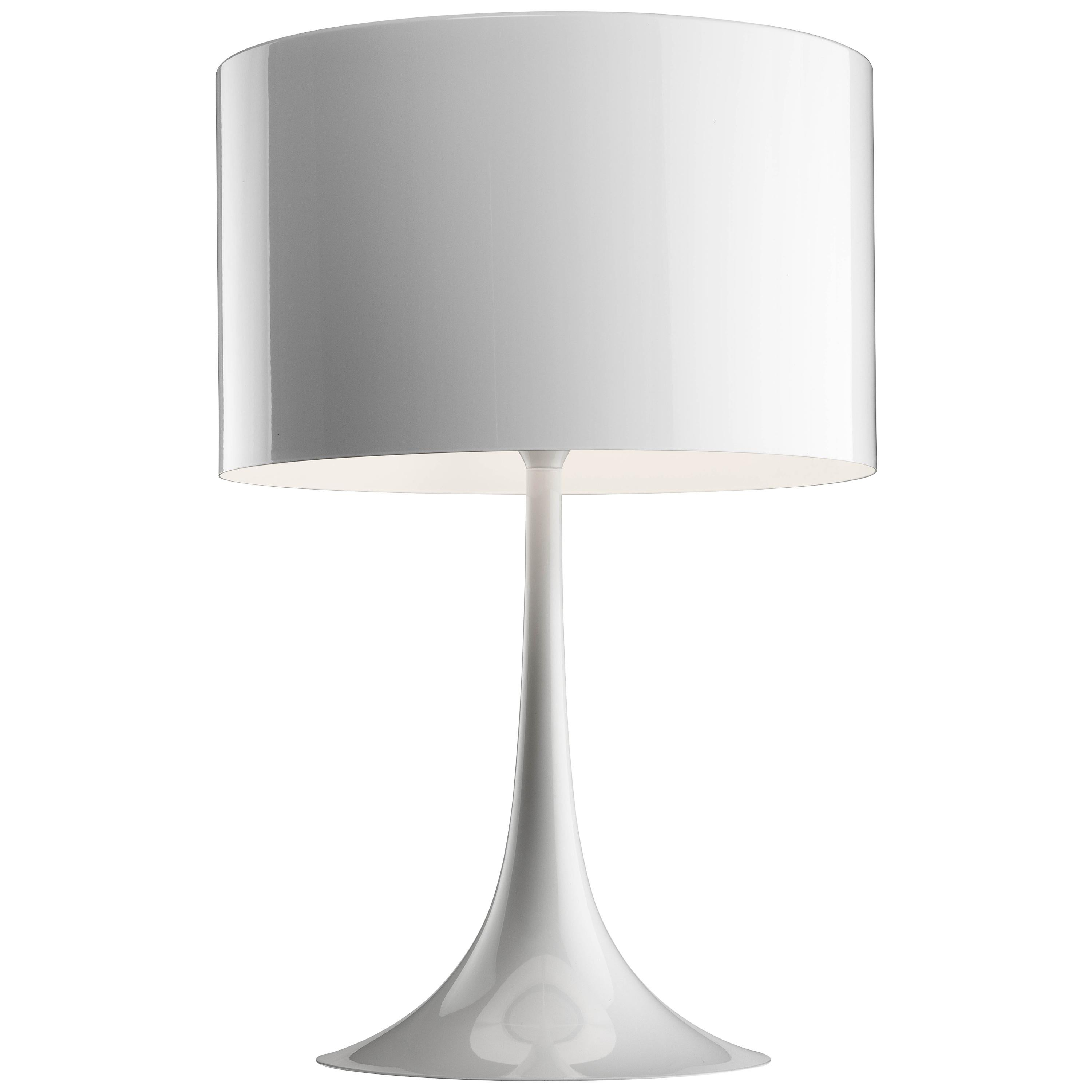 FLOS Spun T2 Halogen Table Lamp In Glossy White By Sebastian Wrong For Sale