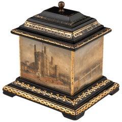 Antique Welsh Slate Gilt Tobacco Box, 19th Century