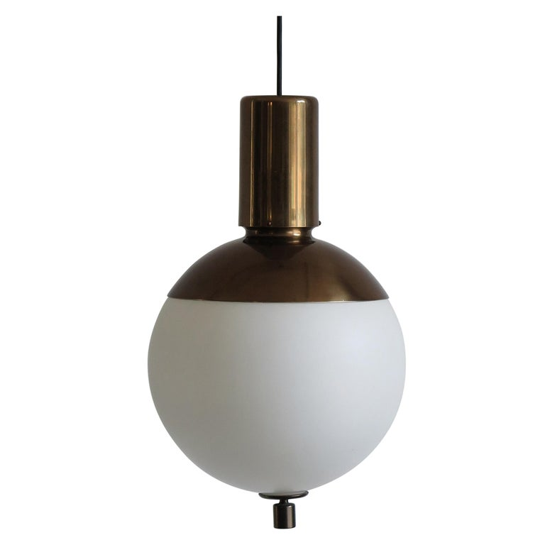 1960s Mid-Century Modern White Glass and Brass Italian Pendant Lamp
