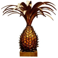 Large Maison Jansen Brass Pineapple Design Table Lamp