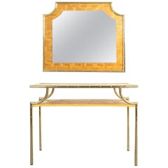 Bamboo Brass Console Table and Mirror Manner Gabriella Crespi, Italy, 1950